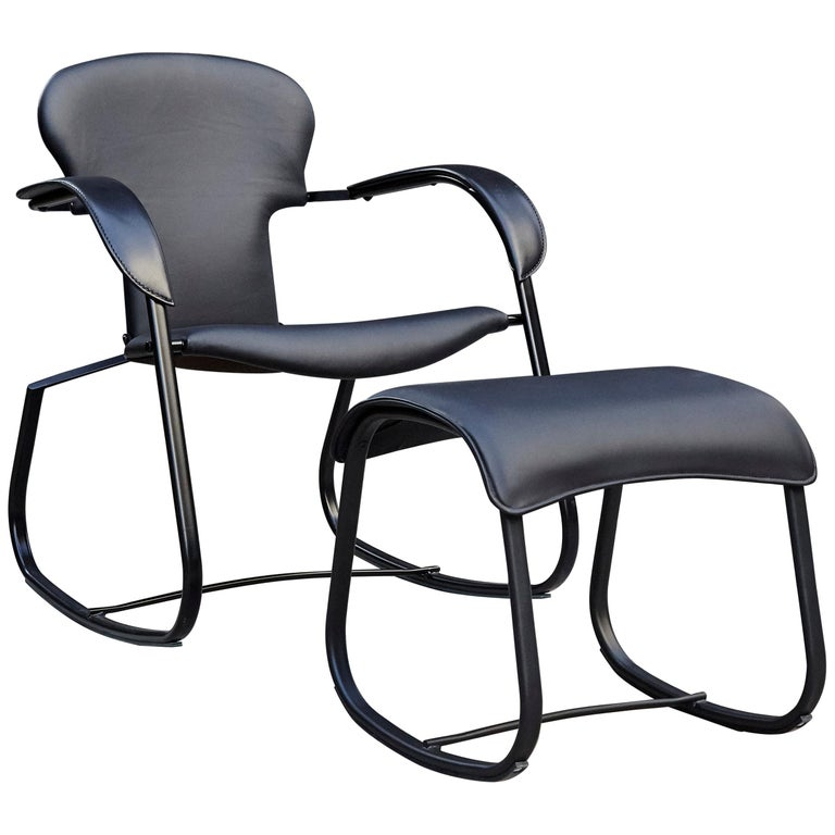 Oscar Tusquets Black Bavarius Rocking Chair and Stool by BD Barcelona For Sale