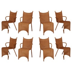 Oscar Tusquets Blanca 8 Woven Rattan Sculptural Dining Chairs, 1980s