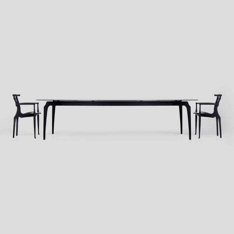Mid-Century Modern Oscar Tusquets Gaulino Dark Grey Glass Large Table For Sale