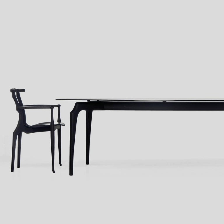 Oscar Tusquets Gaulino Dark Grey Glass Large Table In Excellent Condition For Sale In Barcelona, Barcelona
