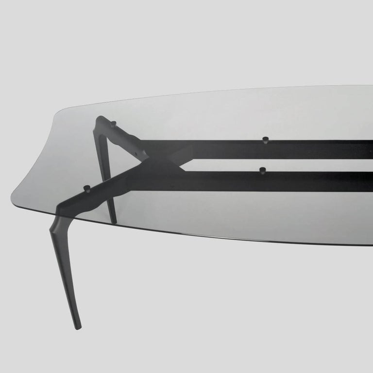 Contemporary Oscar Tusquets Gaulino Dark Grey Glass Large Table For Sale