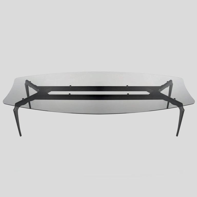 Oscar Tusquets Gaulino Dark Grey Glass Large Table For Sale 1