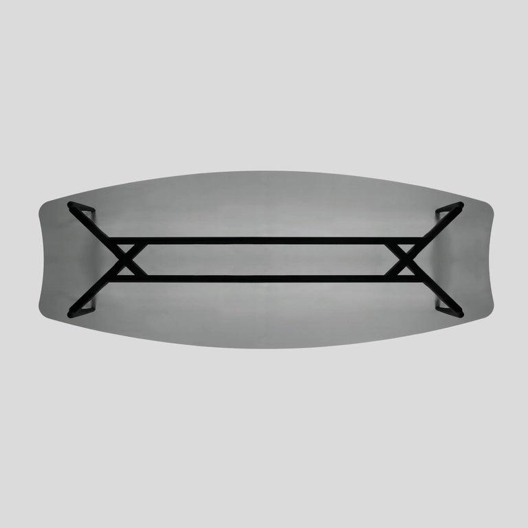 Oscar Tusquets Gaulino Dark Grey Glass Large Table For Sale 2