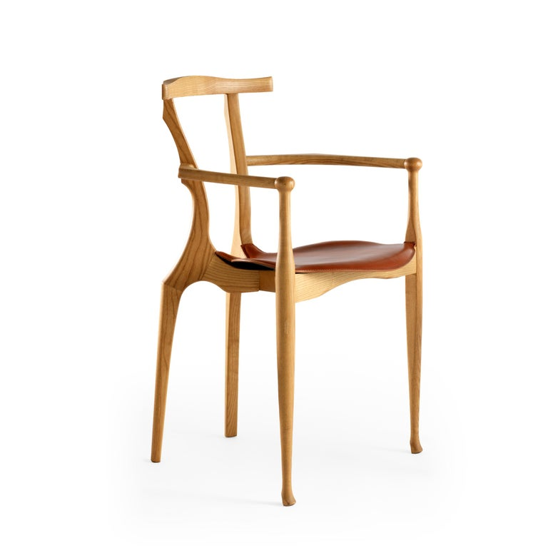 Spanish Oscar Tusquets Mid-Century Modern Leather Wood Gaulino Chair For Sale
