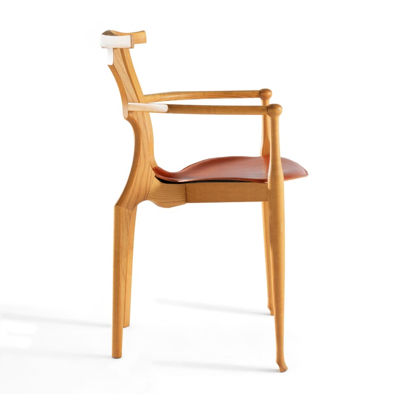 Varnished Oscar Tusquets Mid-Century Modern Leather Wood Gaulino Chair For Sale