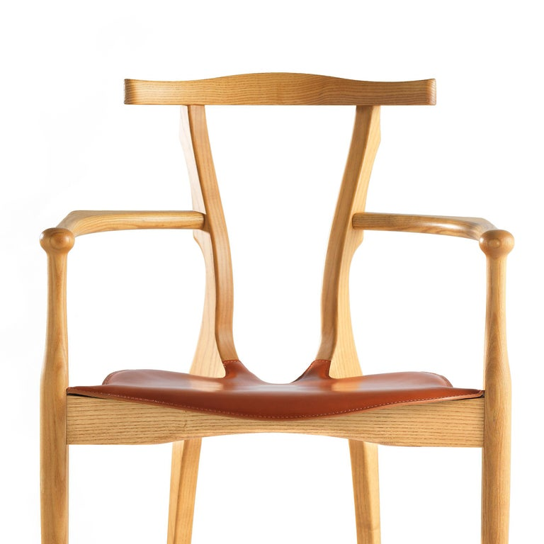 Oscar Tusquets Mid-Century Modern Leather Wood Gaulino Chair In New Condition For Sale In Barcelona, Barcelona