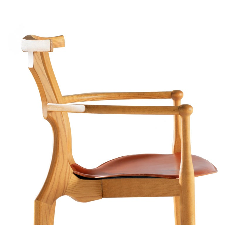Contemporary Oscar Tusquets Mid-Century Modern Leather Wood Gaulino Chair For Sale