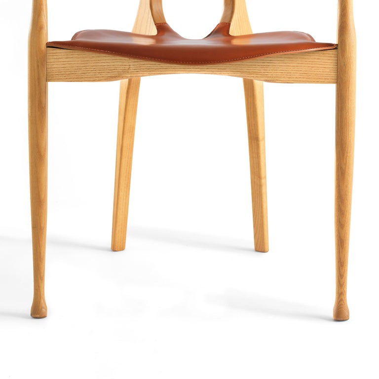 Ash Oscar Tusquets Mid-Century Modern Leather Wood Gaulino Chair For Sale