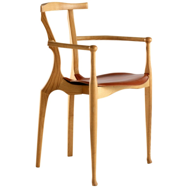 Oscar Tusquets Mid-Century Modern Leather Wood Gaulino Chair For Sale