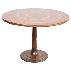 Oscar Tusquets Round Dinning Wood Table, circa 1970