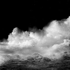 Black Garden, Black and white landscape, clouds and mountain, silver gelatin