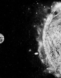 Electromagnetic, contemporary black and white photo, space, sun, sci-fi, stars