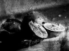 Knife, Abstract contemporary black and white photo, still life photo pomegranate