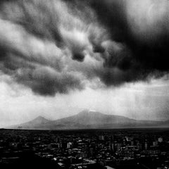 Storm Over Yerevan-Black and white photo of Ararat Mountain and cityscape