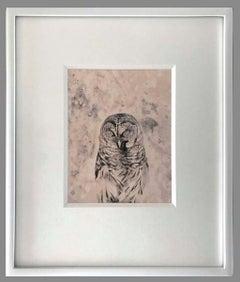 White Lodge-Contemporary black and white still life photo, owl, bird, gold tone