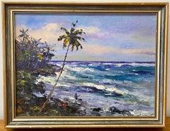 """Oshino Okuda """"Kalapana Coast, Black Sand Beach"""" Hawaiian Oil Painting c.1960"""