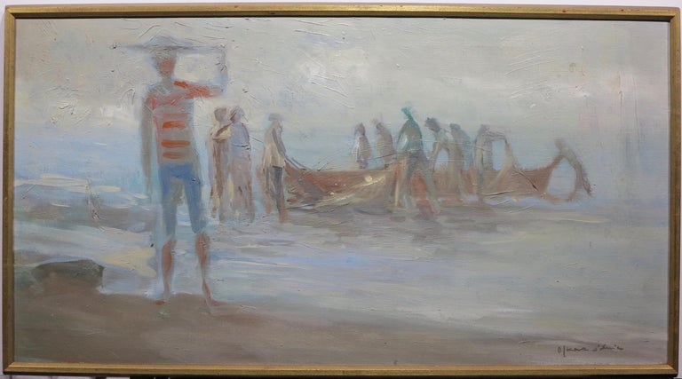 Fisherman at Dusk - Painting by Oskar D'Amico
