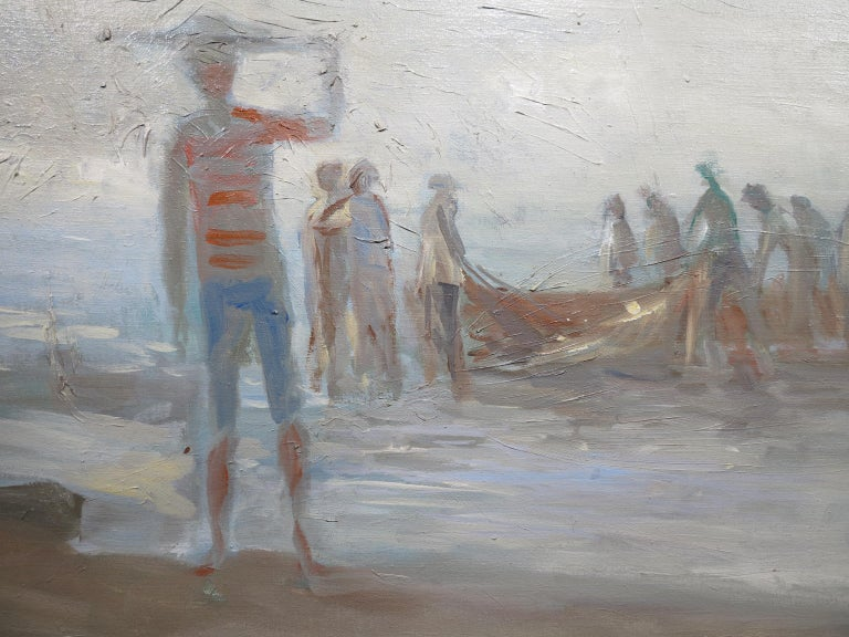 Fisherman at Dusk - Abstract Painting by Oskar D'Amico