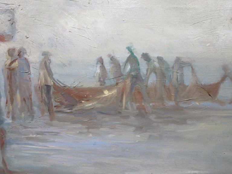 Fisherman at Dusk - Gray Abstract Painting by Oskar D'Amico