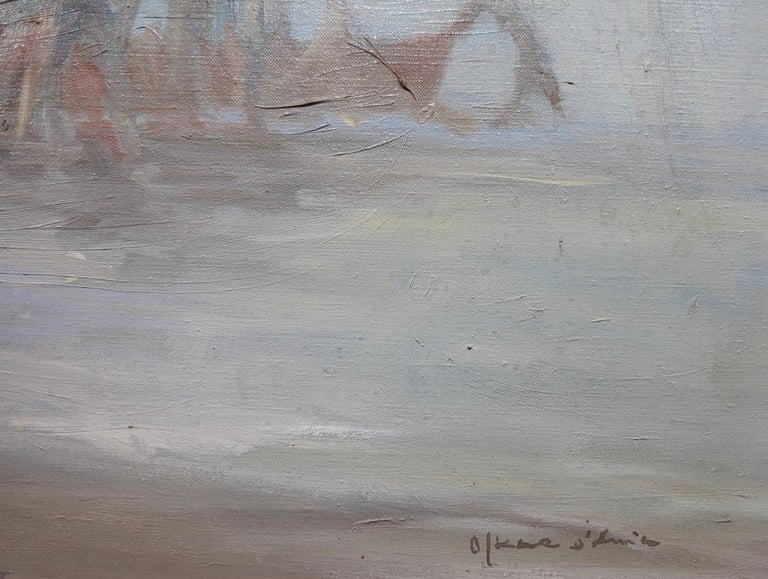 Oskar D'Amico (1923-2003). Fisherman at Dusk, c.1960. Oil on linen canvas, 16 x 30 inches; 18 x 32 inches (frame). Signed lower right. Excellent condition with no damage or conservation.   Biography:  Oskar Maria D'Amico (February 22, 1923 – May 3,