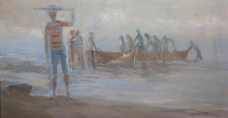 Oskar D'Amico Abstract Painting - Fisherman at Dusk