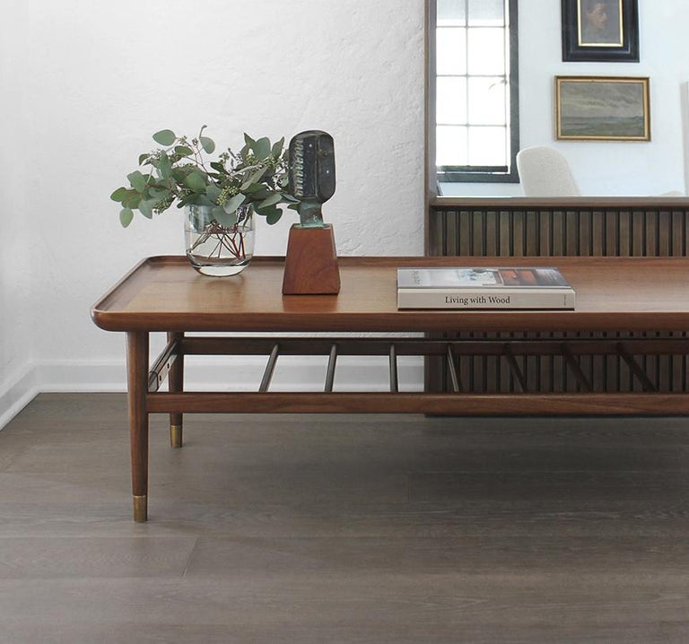 Oslo Cocktail Table in Light Walnut with Antique Brass Fittings For Sale 5