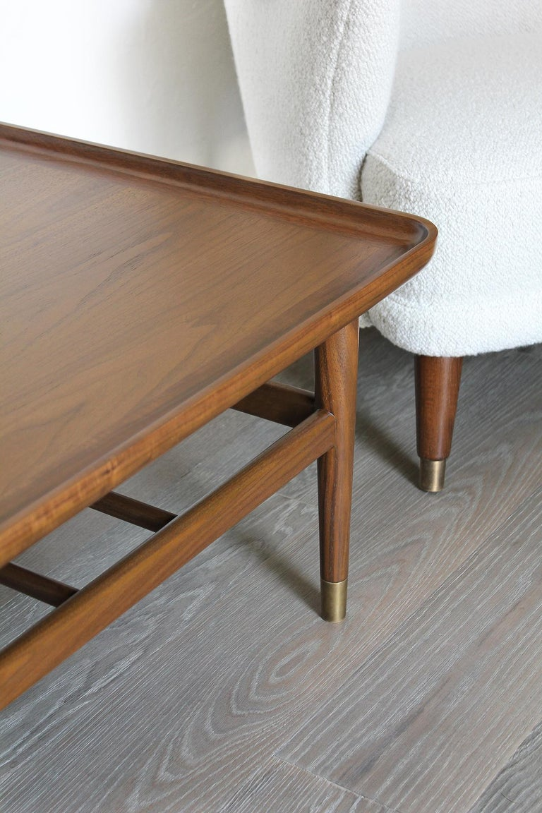 Oslo Cocktail Table in Light Walnut with Antique Brass Fittings For Sale 7