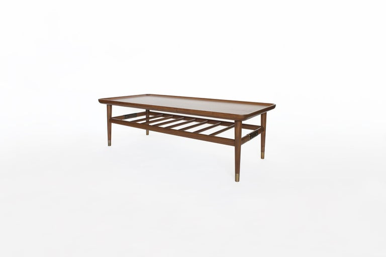 Modern Oslo Cocktail Table in Light Walnut with Antique Brass Fittings For Sale