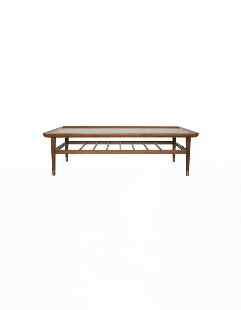 American Oslo Cocktail Table in Light Walnut with Antique Brass Fittings For Sale