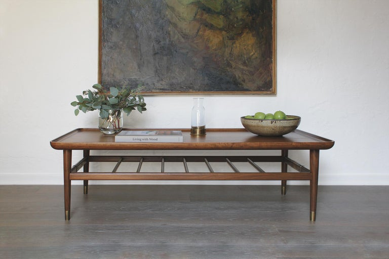 Oslo Cocktail Table in Light Walnut with Antique Brass Fittings In New Condition For Sale In Los Angeles, CA