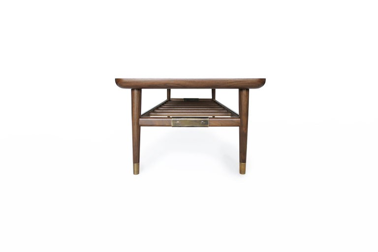 Contemporary Oslo Cocktail Table in Light Walnut with Antique Brass Fittings For Sale