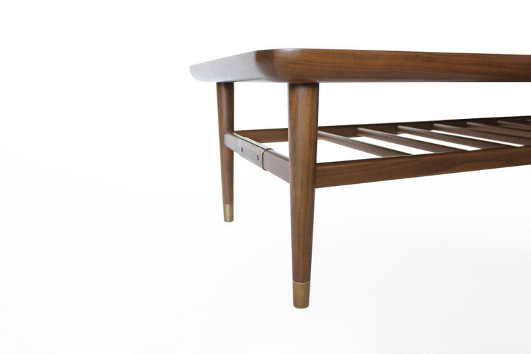 Oslo Cocktail Table in Light Walnut with Antique Brass Fittings For Sale 1