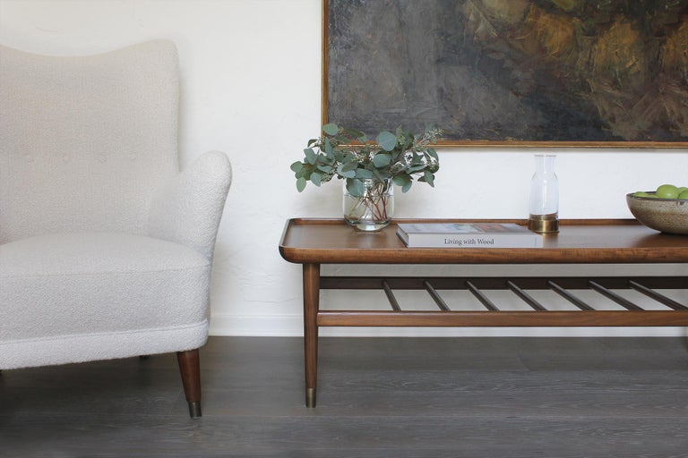 Oslo Cocktail Table in Light Walnut with Antique Brass Fittings For Sale 2