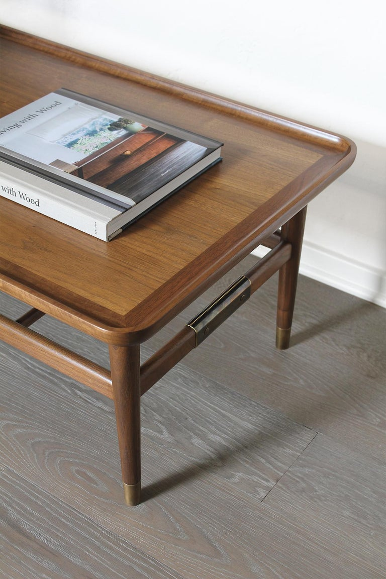 Oslo Cocktail Table in Light Walnut with Antique Brass Fittings For Sale 3