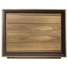 Oslo Dresser, Solid Walnut Wood with Brown Leather Border Bedroom Dresser