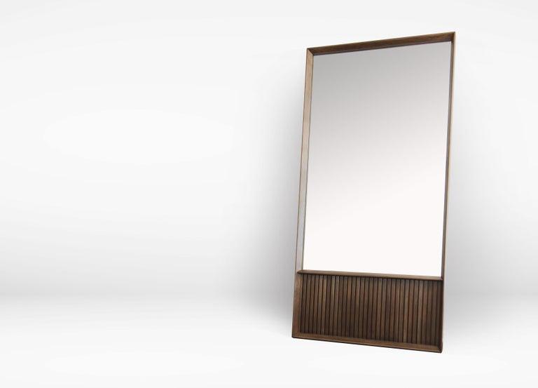 Modern Oslo Rectangular Floor Mirror in Walnut For Sale
