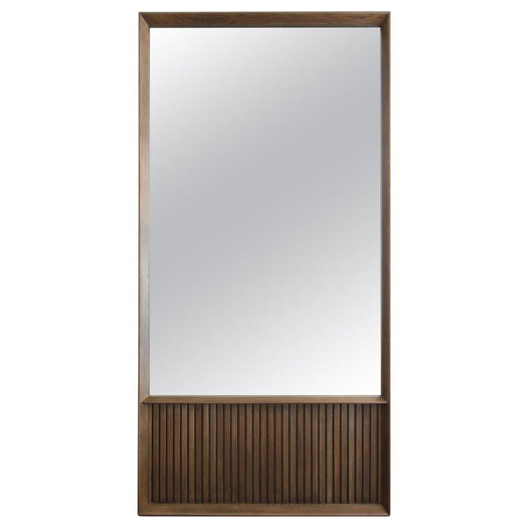 Oslo Rectangular Floor Mirror in Walnut For Sale