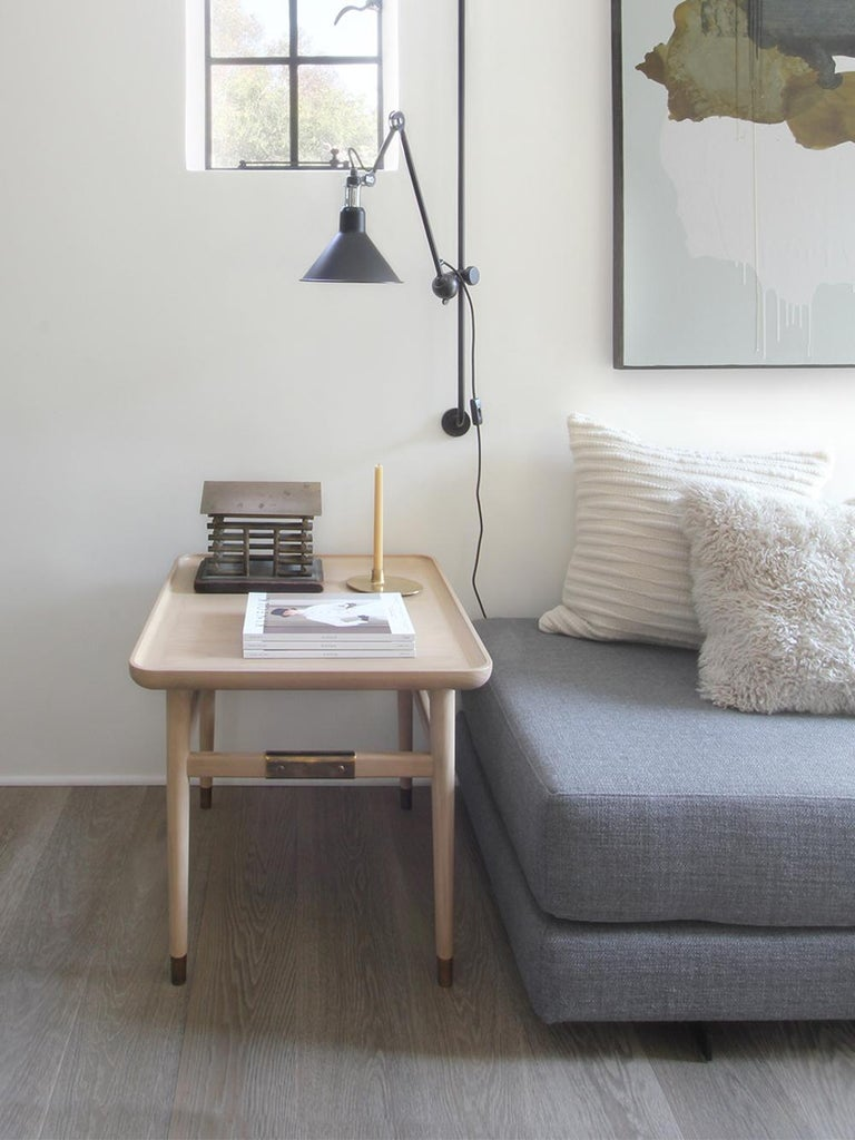 Oslo Rectangular Side Table in Bleached Oak with Antique Brass Fittings For Sale 7