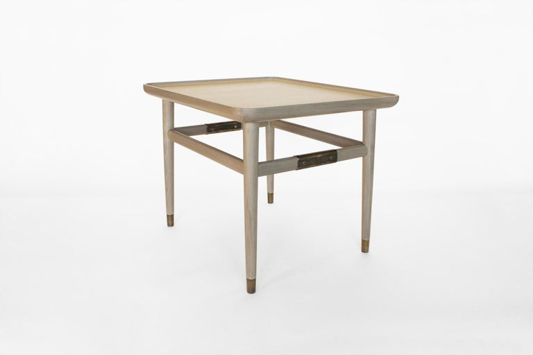 Modern Oslo Rectangular Side Table in Bleached Oak with Antique Brass Fittings For Sale
