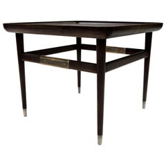 Oslo Rectangular Side Table in Ebonized Walnut with Antique Brass Fittings