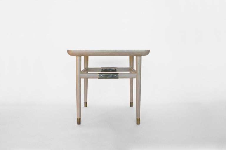 Oslo Rectangular Side Table in Bleached Oak with Antique Brass Fittings In New Condition For Sale In Los Angeles, CA
