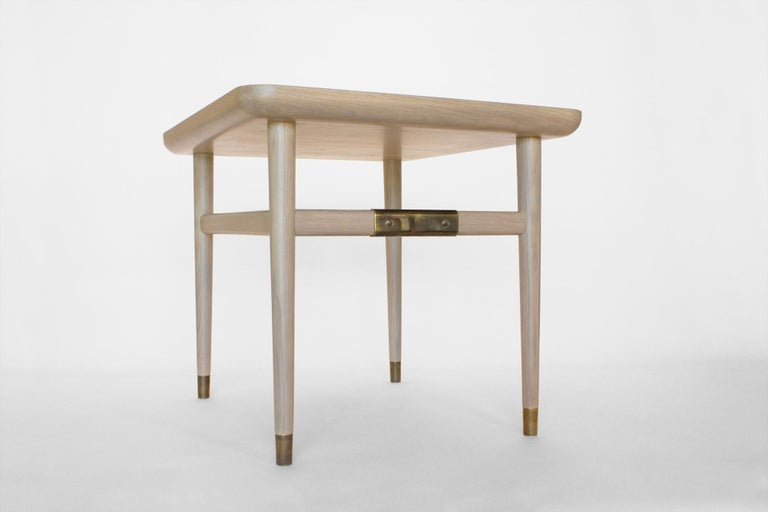 Contemporary Oslo Rectangular Side Table in Bleached Oak with Antique Brass Fittings For Sale