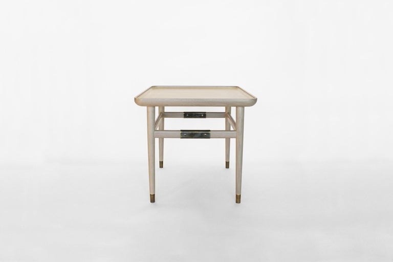 Oslo Rectangular Side Table in Bleached Oak with Antique Brass Fittings For Sale 1