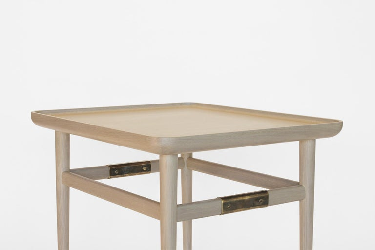 Oslo Rectangular Side Table in Bleached Oak with Antique Brass Fittings For Sale 4
