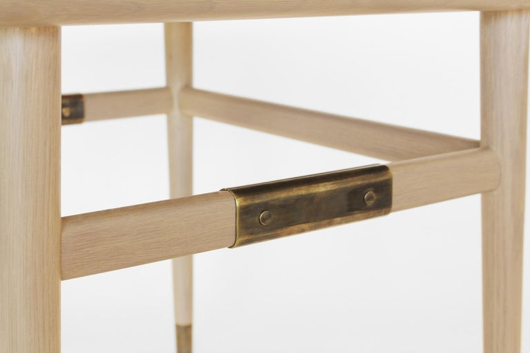 Oslo Rectangular Side Table in Bleached Oak with Antique Brass Fittings For Sale 3
