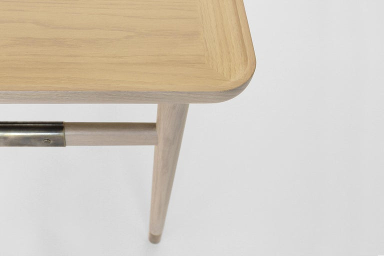 Oslo Rectangular Side Table in Bleached Oak with Antique Brass Fittings For Sale 5