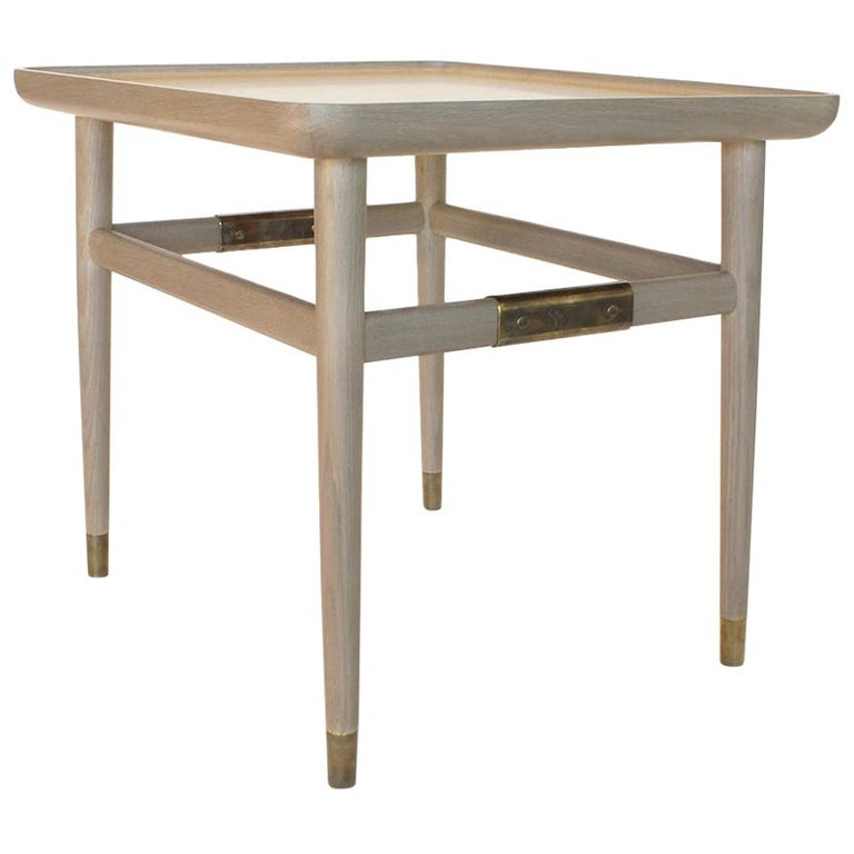 Oslo Rectangular Side Table in Bleached Oak with Antique Brass Fittings For Sale
