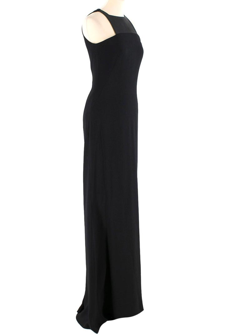 Osman Black Long Dress with  Leather Collar  - Black long dress - Faux leather collar - Open arms  - Hidden zip fastening to the back  - Satin lined  The seller usually wears XS-S size.  Please note, these items are pre-owned and may show some signs