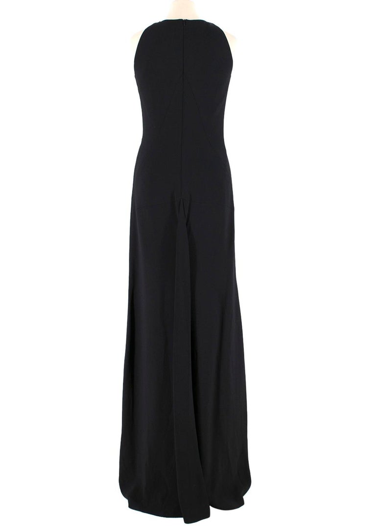 Osman Black Long Dress with Leather Collar estimated SIZE XS-S In Excellent Condition For Sale In London, GB