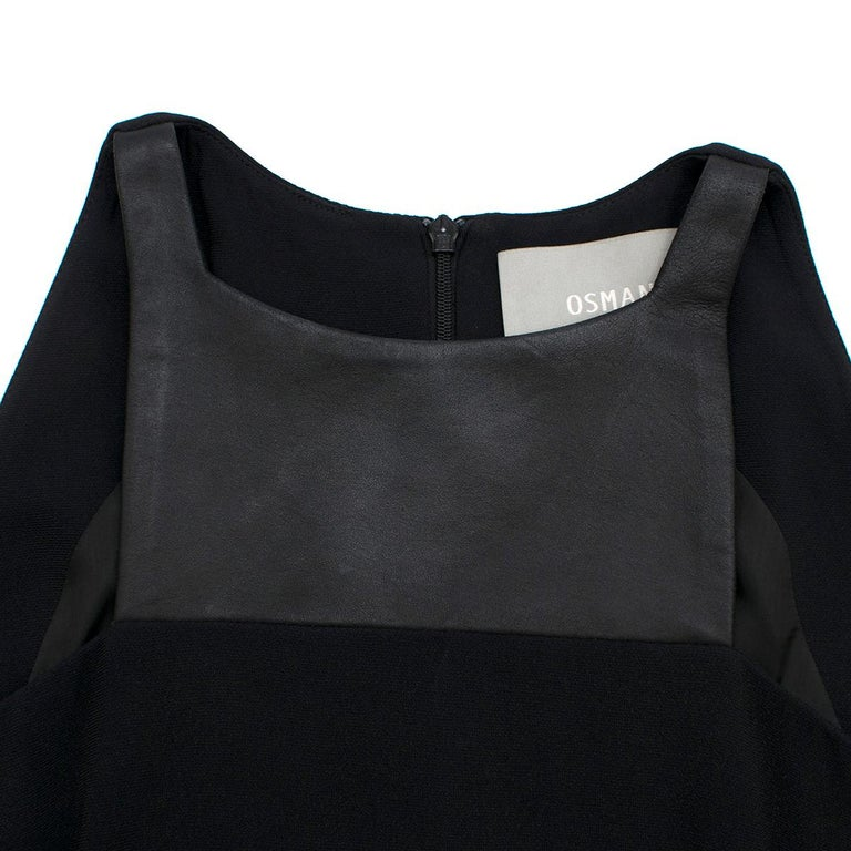 Osman Black Long Dress with Leather Collar estimated SIZE XS-S For Sale 1